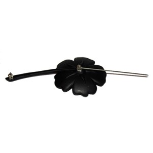 Givenchy Gunmetal Rhinestone Flower Pin
