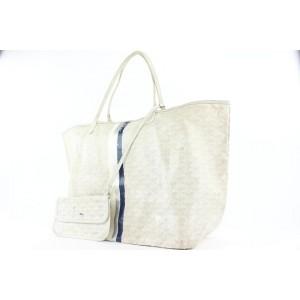 Goyard Large White Chevron St Louis GM Tote Bag with Pouch 534gy310