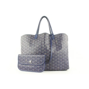 Goyard Navy Blue Chevron St Louis Tote Bag with Pouch 560gy311