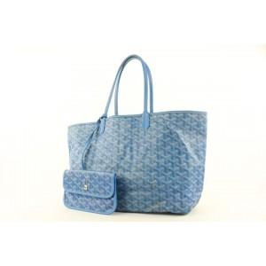 Goyard Blue Chevron St Louis Tote bag with Pouch 881gy413