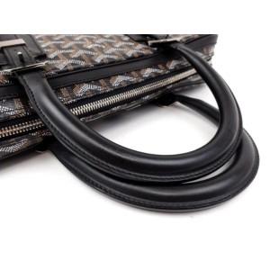 Goyard Black Chevron Goyardine Diplomat Briefcase Attache Bag 857928