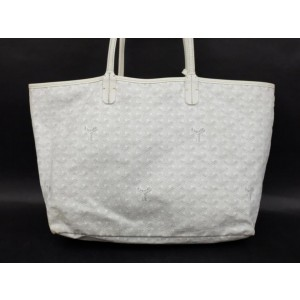 Goyard Chevron Goyardine St Louis with Pouch 233790 White Coated Canvas Tote