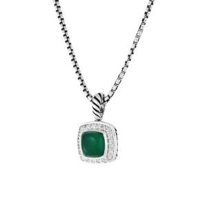 David Yurman Petite Albion Green Onyx & Diamonds Pendant Chain Necklace