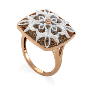 Gregg Ruth Multi-Gold Diamond Pave Flower Ring