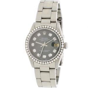 Rolex Datejust Midsize 31MM Automatic Stainless Steel Oyster Watch w/Rhodium Diamond Dial & Bezel