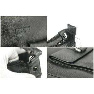 Gucci 22gk1220 D-ring Pocket Black Leather Hobo Bag