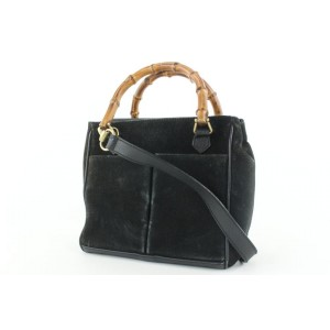 Gucci Black Suede Bamboo 2way Tote bag 22gks422
