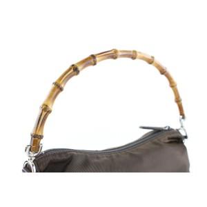 Gucci Shoulder 2way Bamboo 222472 Brown Nylon Hobo Bag