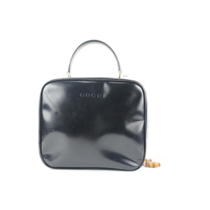 Gucci Black Patent Vanity Lunch Box Top Handle Bag 734gks324