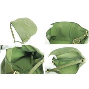 Gucci 7gk0107 Studded Blondie Green Leather Hobo Bag