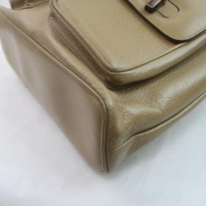 Gucci Beige Leather Bamboo Backpack 863115