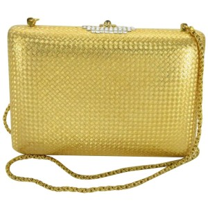 Gucci 871983 Chain Minaudiere Gold Mesh Cross Body Bag