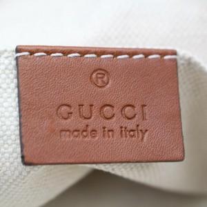 Gucci 872130 Embossed Web Shopper Beige Nylon Tote