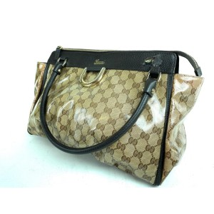 Gucci Abbey Crystal Monogram D-ring Tote 16g69 Brown Coated Canvas Shoulder Bag