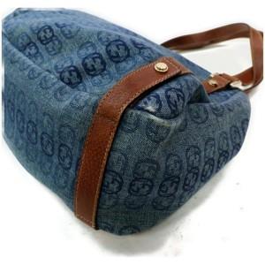 Gucci Abbey Hobo Gg Monogram Interlocking 872010 Canvas Denim Shoulder Bag