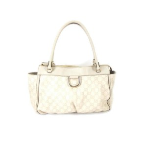 Gucci Abbey Hobo Guccissima Ring 223132 Ivory Leather and Gg Leather Shoulder Bag