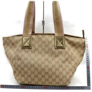 Gucci Tote Bag Gold Canvas 862771