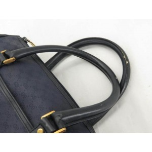 Gucci Bag Boston Monogram 867506 Navy Blue Coated Canvas Satchel