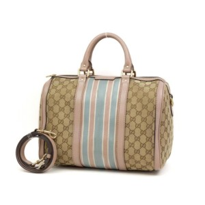 Gucci Bag Boston Monogram Sherry Web Vintage with Strap 231889 Beige Gg Canvas Satchel