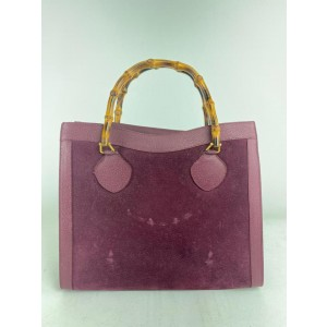 Gucci Bag Burgundy Bamboo Large 1g622 Bordeaux Suede Leather Tote