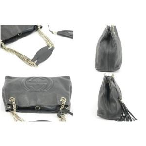 Gucci Bag Soho Fringe Tassel Chain 19gk1220 Black Leather Tote