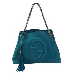 Gucci Bag Soho Nubuck Chain 871613 Blue Leather Tote