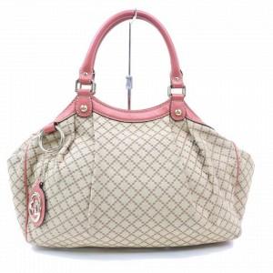 Gucci Bag Sukey Hobo Monogram Diamante 871863 Beige Canvas Satchel