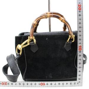 Gucci Bamboo 2way 867617 Black Suede Leather Shoulder Bag