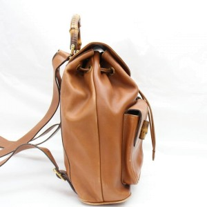 Gucci Bamboo Double Pocket 867663 Brown Leather Backpack