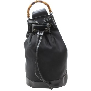 Gucci Backpack Bucket Bamboo Drawstring Sling 869292 Black Nylon Shoulder Bag