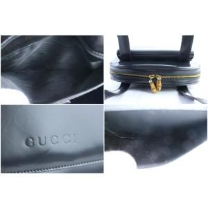 Gucci Bamboo Long Strap Tote 226097 Black Patent Shoulder Bag