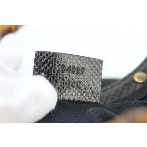 Gucci Bamboo Studded 17gz1016 Black Lizard Skin Leather Hobo Bag
