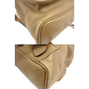 Gucci Beige Bamboo 234023 Beige-brown Leather Backpack