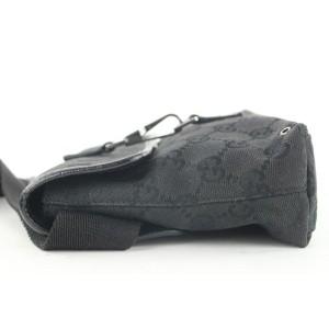 Gucci Black Monogram GG Fanny Pack Waist Pouch Belt Bag 237693