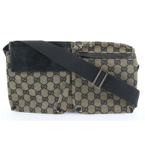 Gucci Navy Blue Monogram GG Belt Bag Fanny Pack Waist Pouch 325ggs223