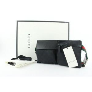 Gucci Ultra Rare Brand New Black GG Web Sherry Belt Bag 458ggs62