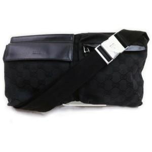 Gucci Black Monogram GG Belt Bag Fanny Pack Waist Pouch 8621009
