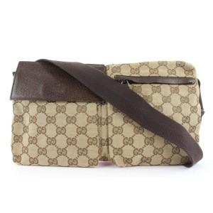 Gucci Brown Monogram GG Belt Bag Fanny Pack Waist Pouch 640ggs317
