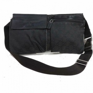 Gucci Belt Monogram Fanny Pack Waist Pouch 870803 Black Gg Canvas Cross Body Bag