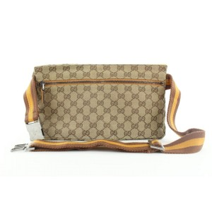 Gucci  Rare Yellow Monogram GG belt bag Fanny Pack Waist Pouch 542ggs310