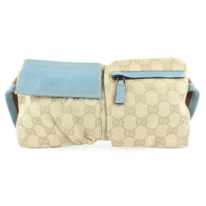 Gucci Small Blue Monogram GG Web Belt Bag Fanny Pack Waist Pouch 686ggs318
