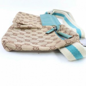 Gucci Belt Turquoise Web Monogram Fanny Pack Waist Pouch 871507 Brown Gg Canvas Cross Body Bag
