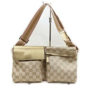 Gucci Gold x Pink Monogram GG Belt Bag Fanny Pack Waist Pouch 862575