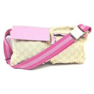 Gucci Pink Monogram GG Belt Bag Fanny Pack Waist Pouch 862989