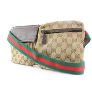 Gucci Web Monogram GG Belt Bag Fanny Pack Waist Pouch 688g0