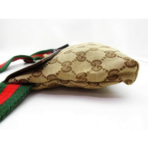 Gucci Belt Web Monogram Gg Waist Pouch Fanny Pack 239752 Beige X Brown X Red X Green Canvas Leather Cross Body Bag
