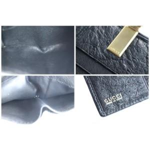 Gucci Bifold Square Wallet 227995 Black Ostrich Leather Clutch