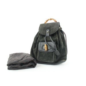 Gucci Black Suede Bamboo Mini Backpack 690gks319