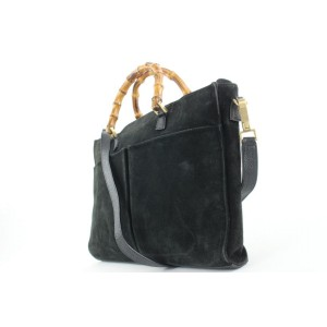 Gucci Black Suede Bamboo Tote 2way Bag 143gas24