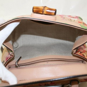 Gucci Blooms Bamboo Daily Top Handle Floral Flowers with Strap 872690 Pink Leather Shoulder Bag